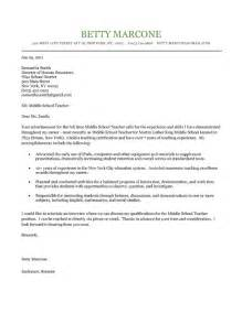 School Cover Letter by Middle School Cover Letter Exle