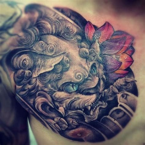 tattoo chinese lotus chinese lion head with red lotus tattoo on shoulder