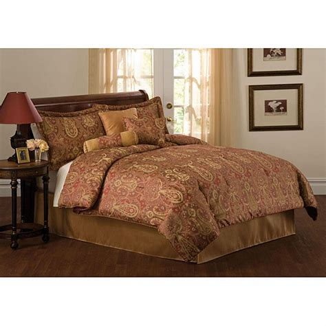 paisley queen comforter sets 7pc kara gold red paisley design comforter set queen ebay