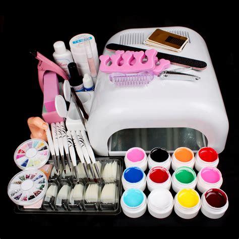 gel nail kit with uv light new pro 36w uv gel white l 12 color uv gel nail art