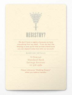 Wedding Registry Bank Account by 1000 Images About Wedding Invitation On