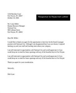 thank you letter after rejection best free home