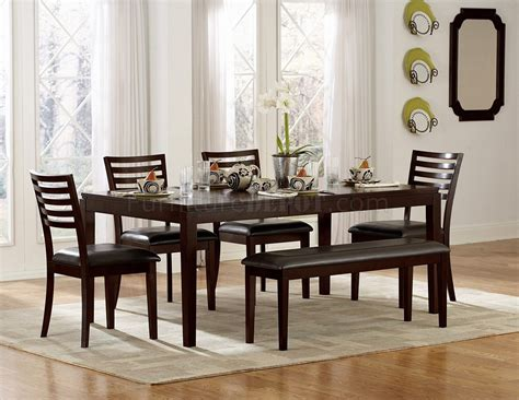 espresso finish modern dining table w optional chairs bench