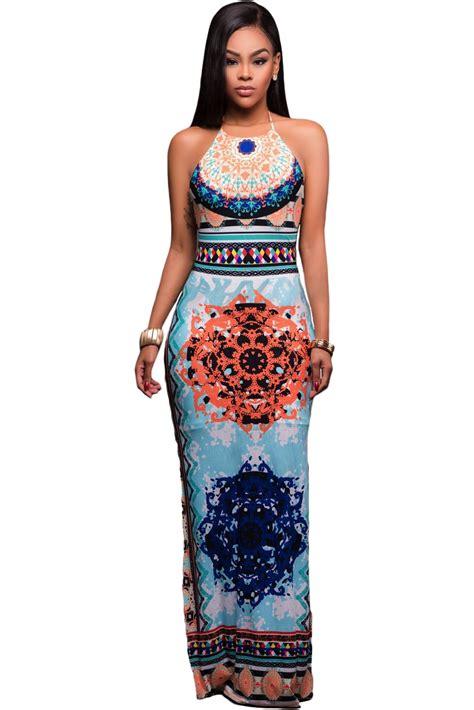 light blue halter maxi dress stylish light blue pattern low back halter maxi dress