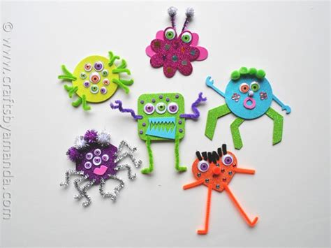 foam crafts glitter foam monsters crafts by amanda