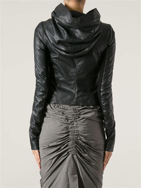 hooded motorcycle jacket lyst rick owens hooded biker jacket in black