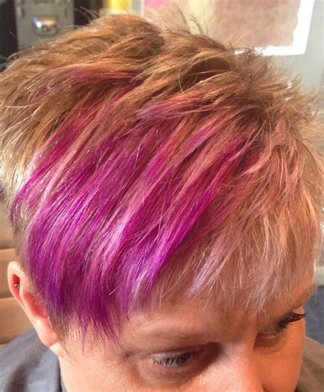 hair styles foil colours pixie style haircut with blonde weaved foils and purple