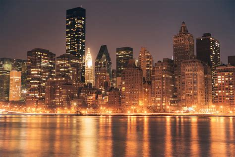 new york city lights skyline at photograph by