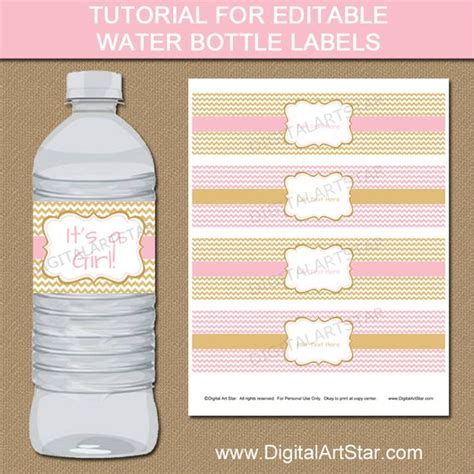 template for bottle labels tutorial for pink gold editable water bottle label