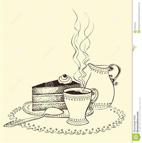 kuchen zeichnung ein tasse kaffee kuchen und milchkrug vektor abbildung