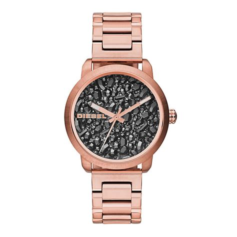 Diesel Move Black Rosegold diesel flare gold tone black h samuel the jeweller