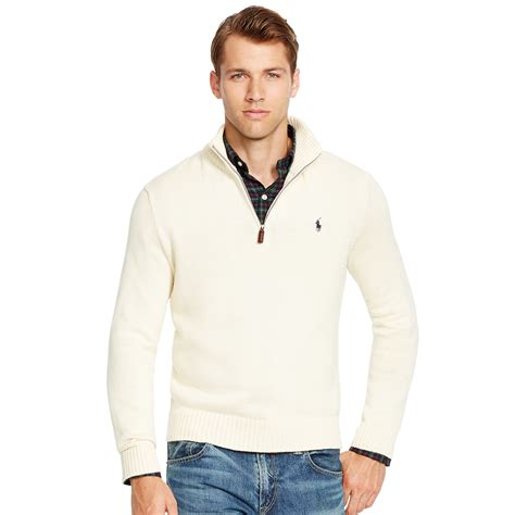 Sweater Polos Zipper Polo Ralph Half Zip Cotton Sweater In Beige For