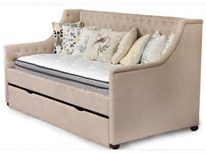 Daybed With Trundle And Storage Sand Microfiber Tufted Daybed With Roll Out Storage Trundle Bailey S Furniture