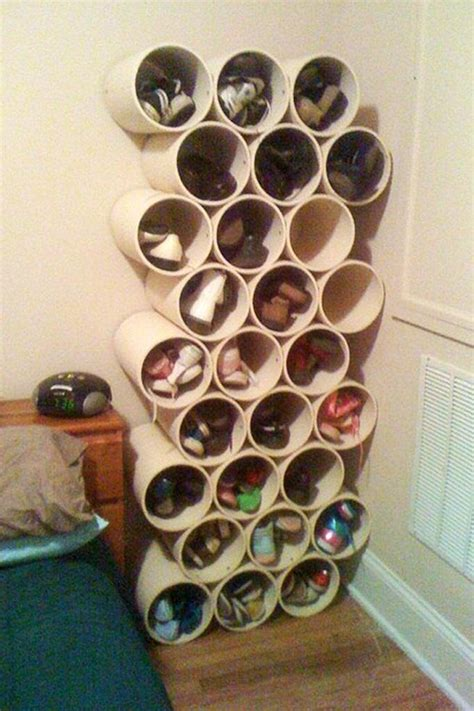 How To Build A Shoe Rack In A Closet by How To Build A Low Cost Shoe Rack Using Pvc Pipes