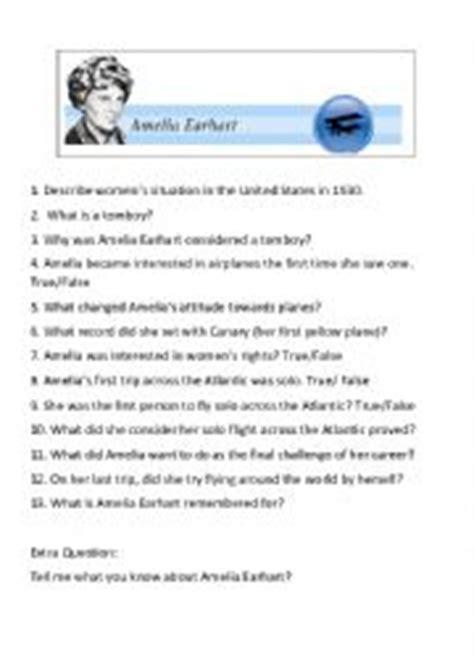 amelia earhart biography in english english worksheets amelia earhart video questions
