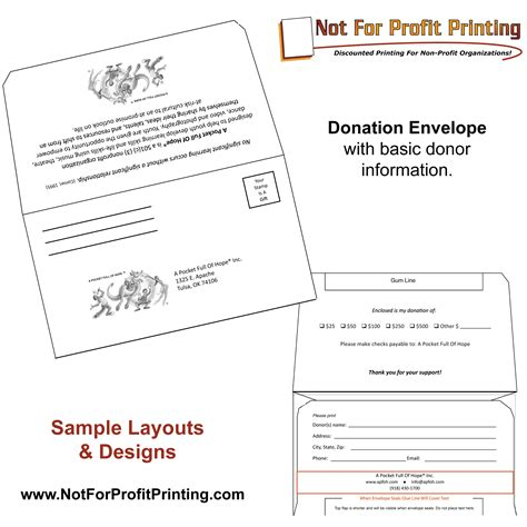 Non Profit Donation Card Template Envelopes by Sle Layouts Designs For Donation Envelopes And