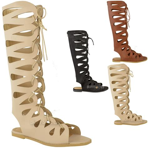 womens flat knee high gladiator strappy sandals