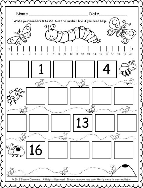 kindergarten activities with numbers freebie 5 pages fill in the missing numbers 0 20 with