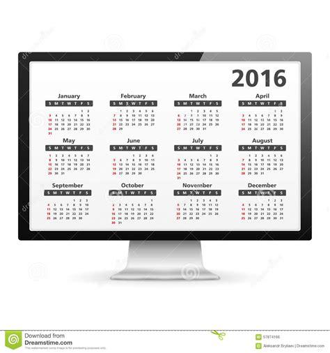 Computer Calendar Computer With 2016 Calendar Stock Vector Image 57874166