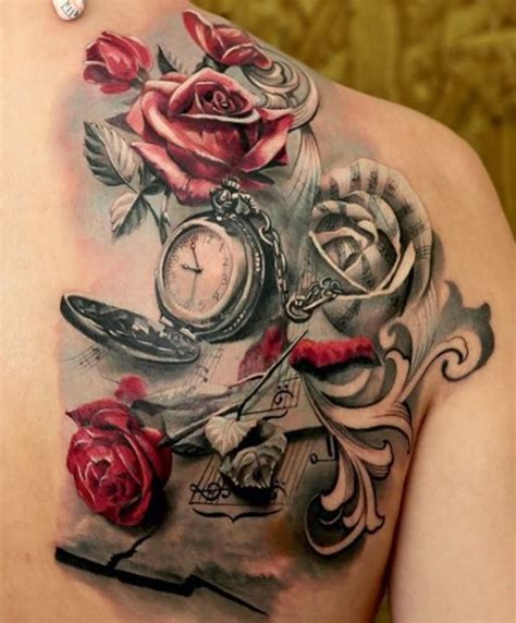 rose and watch tattoo flowers and pocket on right back shoulder