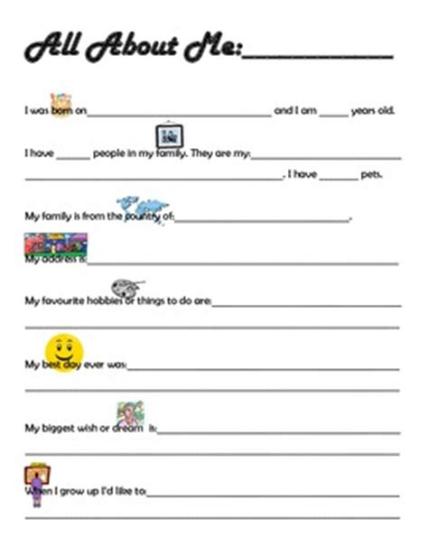 about me template for students quot all about me quot sheet for special education students and