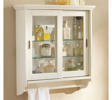 white bathroom wall cabinet with glass doors useful