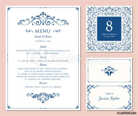 table number and menu card template ornate classic templates set in vintage style wedding