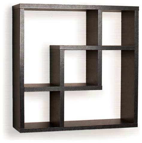 contemporary shelving geometric square wall shelf with 5 openings contemporary