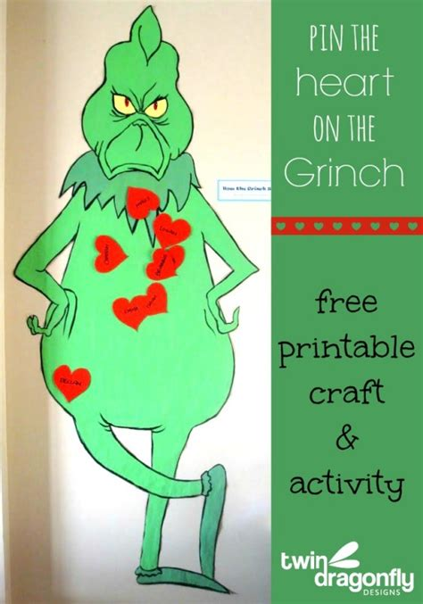 printable grinch poster pin the heart on the grinch activity with free printable