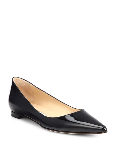 shoes flats black manolo blahnik bb patent leather ballet flats in black lyst