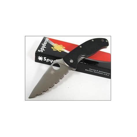 spyderco tenacious black serrated couteau spyderco tenacious folder serrated lame acier