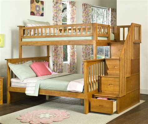 Bunk Bed With Staircase Columbia Staircase Bunk Bed Caramel Latte Bedroom Furniture Beds Atlantic