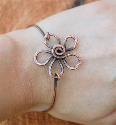aluminum wire jewelry flower bracelet metal flower wire flower oxidized copper