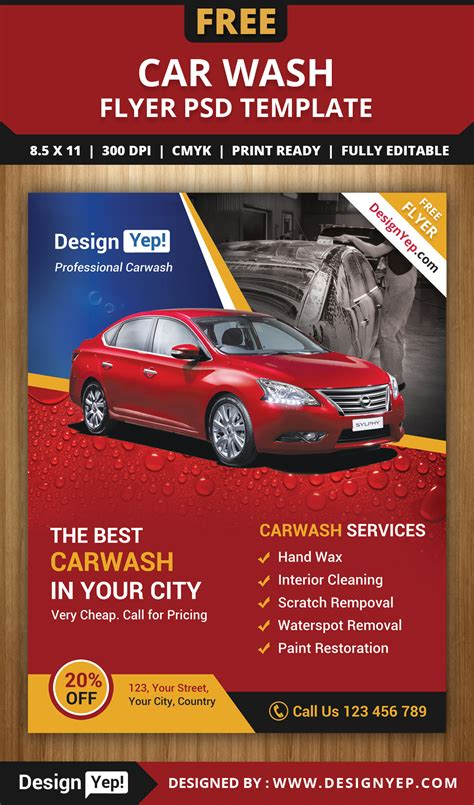 free car wash flyer psd template 3232 designyep free