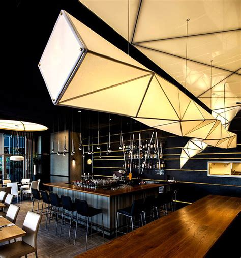sushi restaurant with origami lights interiorzine