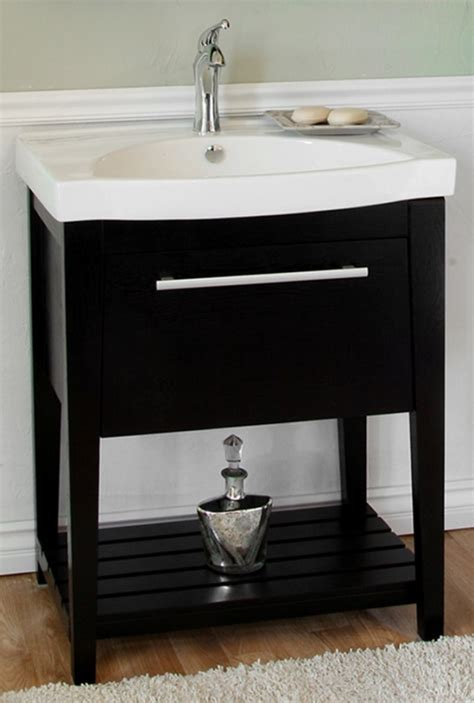 27 5 inch single sink bathroom vanity with a black finish