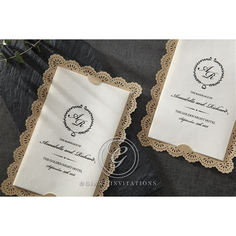 Wedding Invitations Vintage Lace by Textured And Vintage Brown Lace Framed Wedding Invitation