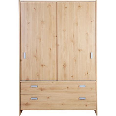 homebase bedroom furniture wardrobes capella 2 door 2 drawer sliding wardrobe pine effect at