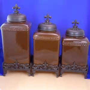 rustic fdl cross canister set ceramic brown kitchen western canisters pinterest