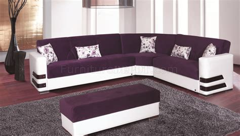 Purple Sectional Sofa Safir Sectional Sofa Convertible In Purple Microfiber By