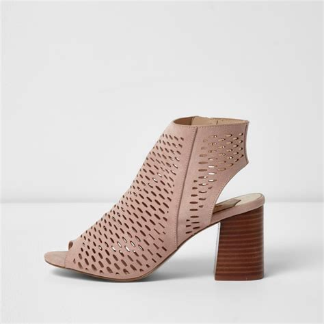 Sandal Wedges Laser Ls04 Pink 36 light pink laser cut block heel sandals shoes boots sale