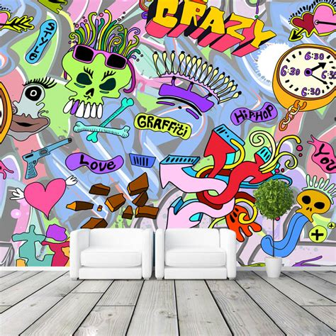 graffiti interiors home art murals and decor ideas aliexpress com buy 3d wallpaper graffiti boys urban art