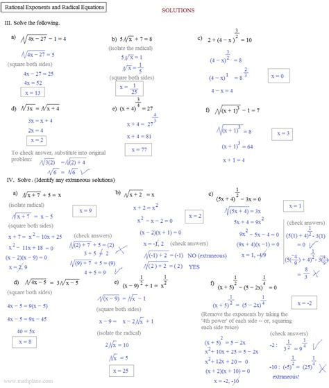 Exponent Review Worksheet Answer Key
