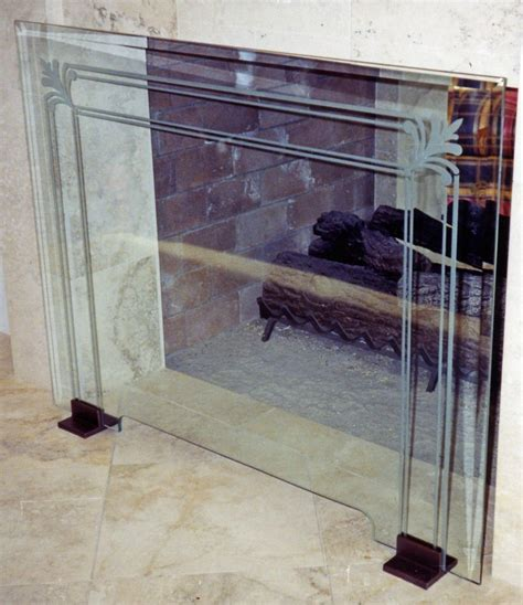 Fireplace Screens Glass by Glass Fireplace Screen Etched Glass Filigree