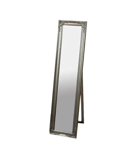 grand miroir sur pied en bois argent 233 avec moulures