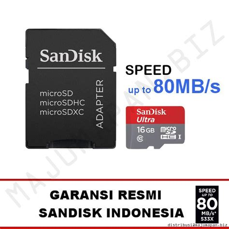 Micro Sd 16gb Sandisk Class 10 sandisk ultra micro sd class 10 16gb 80mb s microsdhc free sd card adapter garansi resmi