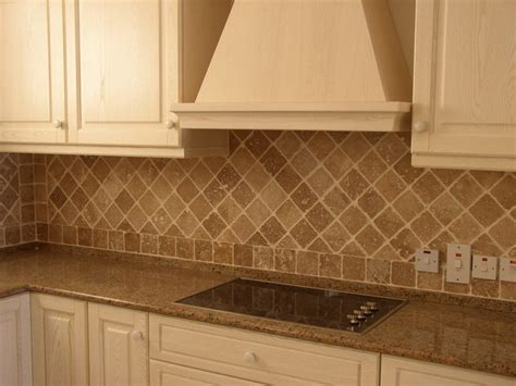 Tumbled Travertine Backsplash Traditional Kitchen Backsplash Designs Travertine