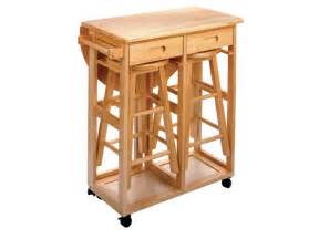 Round drop leaf kitchen island table with 2 stools kitchen island