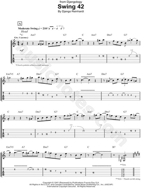django reinhardt minor swing tab django reinhardt quot swing 42 quot sheet music in c major