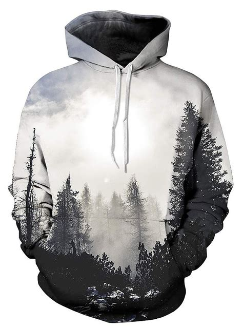 Black And White Pattern Hoodie | special long sleeve grey trees pattern pocket 3d painted